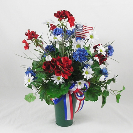 WW-226 Red, white & blue silk cemetery vase - metal vase included.