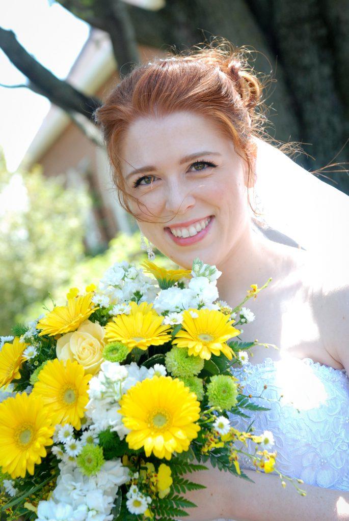 Sunny yellow gerbera daisy bridal bouquet.