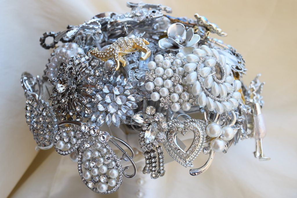 Detail image of brooch bouquet for the bride.