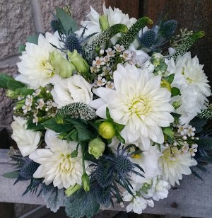 Gorgeous white dahlia bouquet - love the textures!