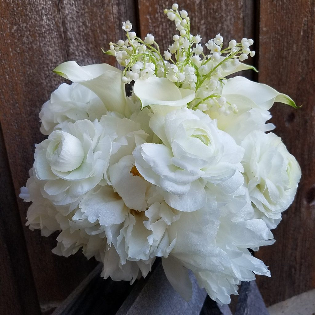 Bouquet of Lily of the Valley, Calla Lilies, Ranunculus, Peonies