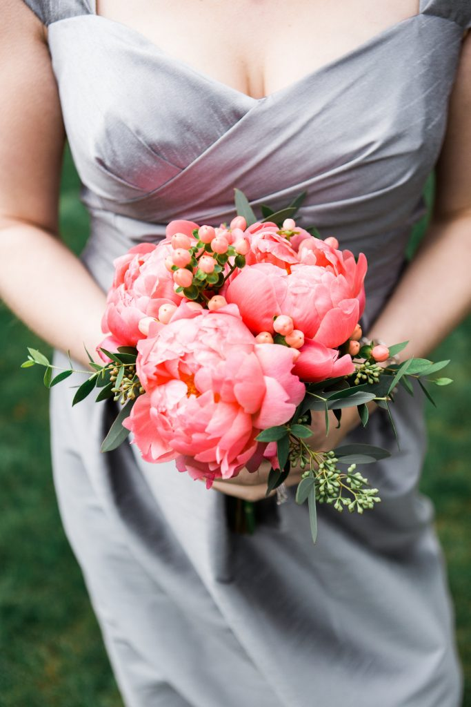 Peach peony bridesmaid bouquet